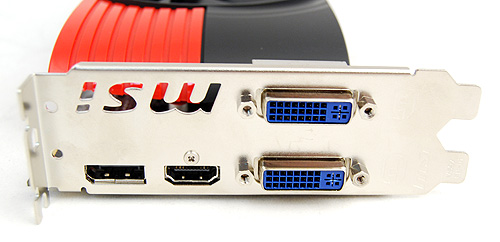 Like many of the other cards, the MSI R6850 gets two DVI ports, a single DisplayPort and HDMI port.
