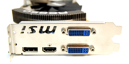 The MSI card has the same twin DVI ports and single HDMI and DisplayPort.