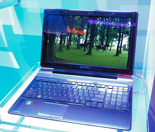 Here's Toshiba showing some of its notebook magic with a glass-free 3D notebook. Specs include an Intel Core i5-M520 processor, 4GB RAM, 500GB storage, 15.6-inch display size and a pair of Harman Kardon speakers.