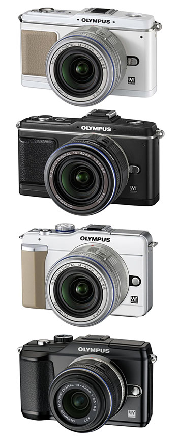 The design evolution of Olympus' EP and E-PL series (not shown to scale). From top, the E-P1, E-P2, E-PL1 and E-PL2.