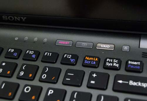 The additional buttons allow for easy access to Sony's VAIO software.