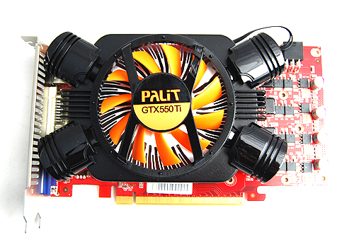 The Palit GeForce GTX 550 Ti Sonic has the familiar black and orange theme that is actually quite attractive really.