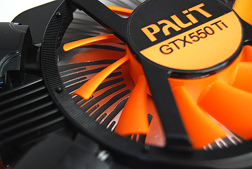 The Palit card uses a radial heatsink design similar to that employed by MSI's Cyclone cooler. The only difference is that this card doesn't have the twin peripheral heatsink arrays by the sides.