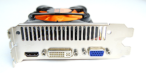 The Palit card offers a DVI port, a VGA port, and a single full-sized HDMI port.