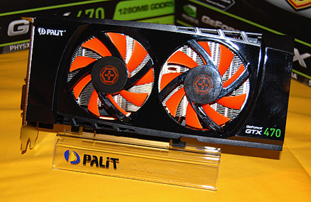 Not to be outdone, Palit's customized GeForce GTX 470 features a dual-fan cooler as well.