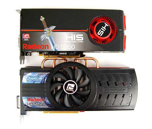 The PowerColor PCS+ HD 5850 is the most physically imposing card, thanks to its massive cooler.