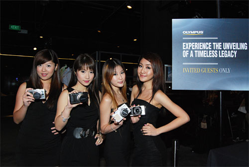 Lovely ladies with the new Olympus PEN E-P3 at the launch event.