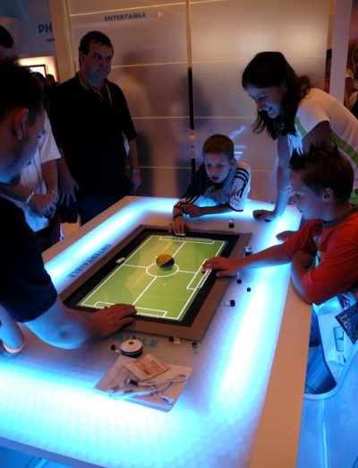 As part of its innovative market-ready concepts (under the Future Zone segment of its hall), Philips showed the Entertaible (or Entertainment Table) which is a new gaming experience designed for gaming in public locations like bars, hotels, resorts, restaurants and fast-food chains. The electronic game board combines the excitement of electronic gaming with the fun and interaction of traditional board games.