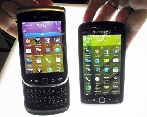 We also had a chance to preview the upcoming BlackBerry Torch 9810 (left) and Torch 9860 (right).