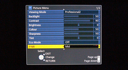 Picture settings vary, depending on the Viewing Mode selected. Here's a screenshot of the Professional2 option but note that the Advanced Settings (not shown) can be accessed by scrolling further down the list.