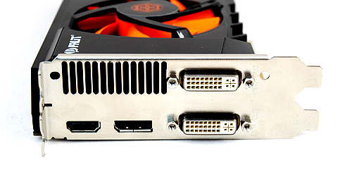 Two DVI ports complemented by a single HDMI port and DisplayPort.
