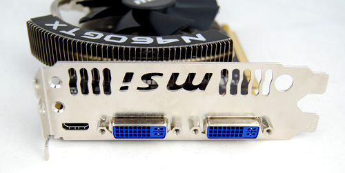 The card has the same twin DVI and single mini-HDMI port that we've seen on most Fermi cards thus far.