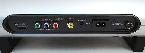 The Pioneer XW-NAS5 has both component and composite video outputs and the adapter port on the left is for the optional Bluetooth adapter, which allows for wireless streaming of music. For more conventional needs, a standard 3.5mm audio input jack is available to hook up to other devices.
