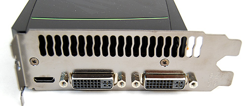 The GeForce GTX 580 has the same twin DVI and single mini-HDMI ports found on the GTX 480. It still can only power two displays simultaneously.