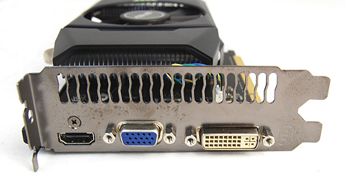 The ASUS ENGTS450 DirectCU TOP has DVI, VGA ports as well as a full-sized HDMI port.