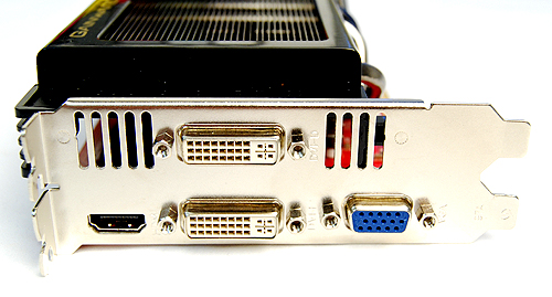 The Gainward card gets two DVI ports, a VGA port, and a full-size HDMI port.