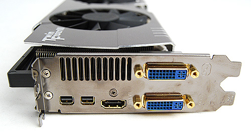 The card gets the usual twin DVI ports, single HDMI port and twin version 1.2 mini-DisplayPorts.