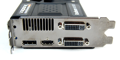 The usual two DVI ports, single HDMI and DisplayPort.