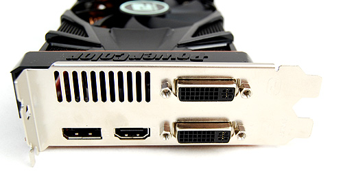 The PowerColor card gets the same twin DVI ports, single DisplayPort and HDMI port.