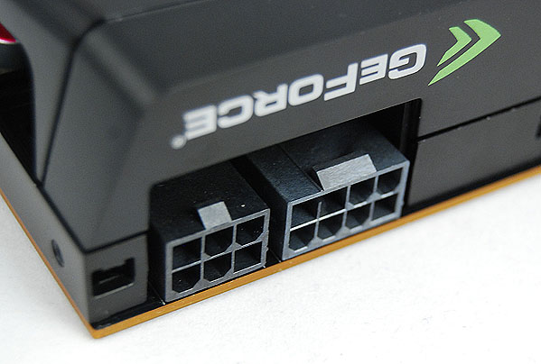 The GeForce GTX 480 is powered via a 6 and 8-pin PCIe power connector. NVIDIA also recommends that users pair it with a PSU rated for at least 600W.