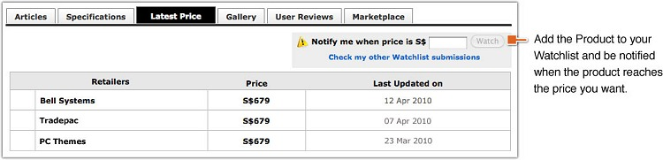 A typical view of the Latest Price tab showing retailers stocking the product and their respective retail prices. If you've signed in at the membership section, you'll find a Watchlist function to peg your desired price. You can then relax and let the system do the tracking for you and even notify you when the value drops to your desired price point. How's that for convenience?