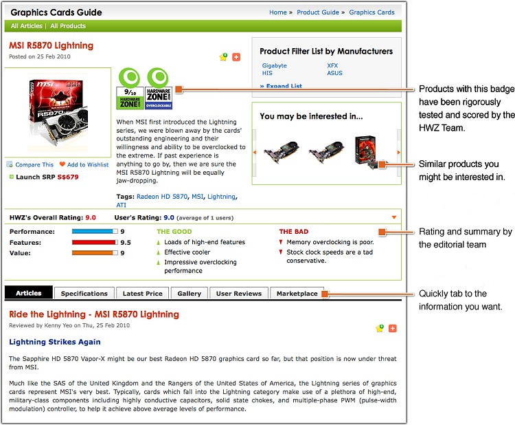 A typical fully populated product detail page.