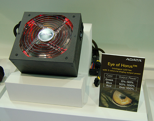 This is ADATA's latest Horus series of PSUs. The LED fan displays three different colors to indicate its current load.