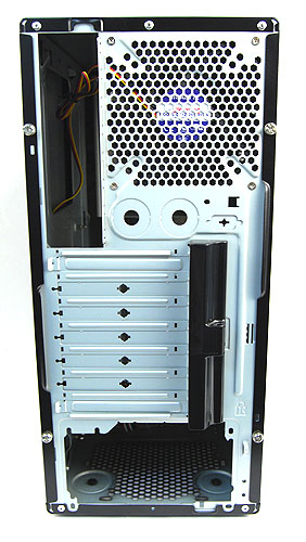 The Gigabyte Luxo M1000 sports cut outs in the rear panel for liquid cooling setups. Rubber grommets to protect the hoses from the sharp metal edges of the casing would have been much welcomed.