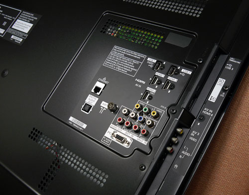Panasonic's E30S has an extensive array of AV connectors, including four HDMI 1.4 slots and three USB ports in all. If you're planning to wall mount this set, you might want to note that the side panel is only an inch deep which makes it highly accessible as well.