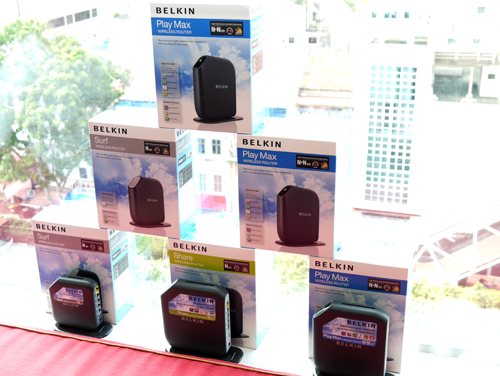 The new routers are ranked as Basic (not shown), Surf, Share and Play Max with the latter being Belkin's flagship model for their freshly baked 802.11n suite.The wireless routers are priced at S$49, S$75, S$119 and S$199 respectively.