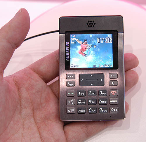 The Samsung P300, which is available now, is a small card sized phone that will fit most pockets.
