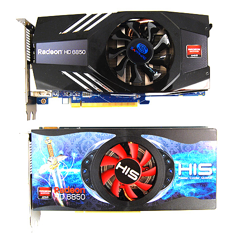On first impressions, the two cards look alike, but look closely and you'll see that the Sapphire Radeon HD 6850 has a different heatsink design.