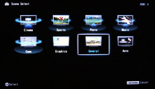 "Picture presets normally fall under the Picture or Display settings for most HDTVs, but not with this BRAVIA though. Hit the System Settings option to locate the various presets available. You'll find them under the ""Scene Select"" sub-tab."