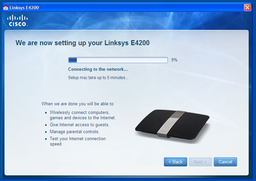 Apart from the E4200's stellar hardware, Linksys has been pushing its user-friendly Cisco Connect software as well. The setup took longer than expected though, lasting almost nine minutes before the router was reinitialized and ready for use.