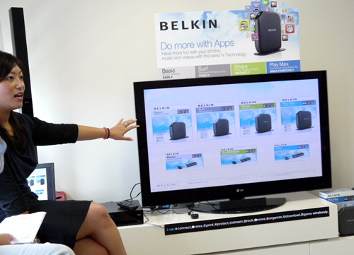 Miss Shirley Wong, Product Manager for Belkin (Networking Divison), explains the strengths and weaknesses of each product under Belkin's new wireless router line-up. Complementary USB adaptors are available as well.