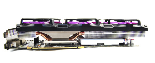 A better look at the layout of the massive Accelero EXTREME Plus cooler. There are three heatsink arrays, one under each fan, and five copper heat pipes are threaded through all of them for quicker heat dissipation.