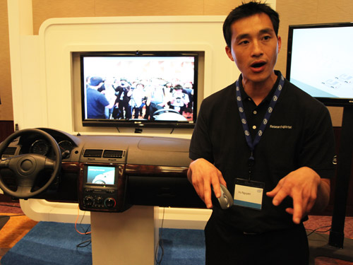 Intel's R&D engineer explaining how image recognition is used inside a smart vehicle.