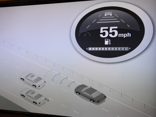 Sensors in the smart car allows it to detect oncoming objects/vehicles.