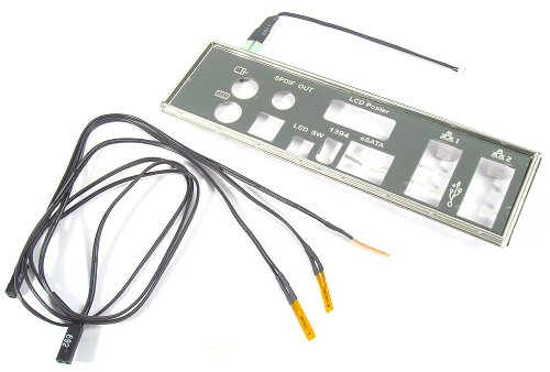 Interesting items in the package include a lighted Rear I/O panel and a few temperature sensors.