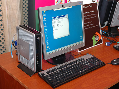 Thin client computing from HP comes in the form of the HP Compaq t5725. A relatively low cost PC with up to 256MB system memory and 512MB flash memory, the thin client runs open source operating systems like Debian Linux. THe t5725 uses an AMD Geode NX 1500 processor and it's based on the SiS741 CX integrated graphics chipset. It's priced from US$399 and is already available in Asia since September.