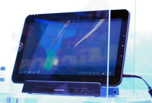 This is Toshiba's Oak Trail tablet running Windows 7 Home Premium, has 64GB storage and a 11.6-inch screen,