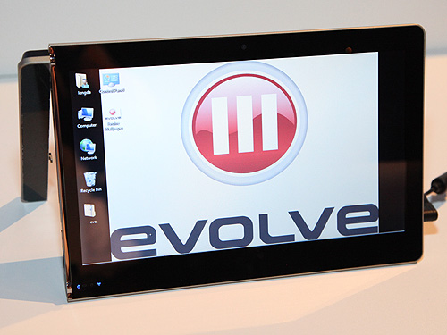 Evolve III's convertible tablet with an innovative built-in stand. It's based on the Oak Trail (Z670 processor) platform and it runs Windows.