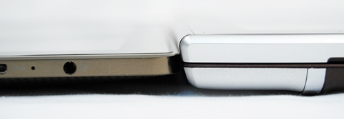 Pictured here are the ASUS Eee Pad Transformer without the optional keyboard (left) and the ASUS Eee Pad Slider (right). The built-in keyboard adds bulk to the profile of the Slider.