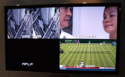 SD (bottom right), HD (top right) and 3D (top left) content are fed into the same screen here. DVB-T2's additional 256QAM mode enables it to carry the beefy 3D signal which was lacking in the DVB-T standard.