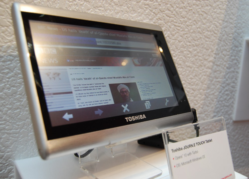Tablets are the rage these days and this Toshiba JOURN.E Touch tablet runs on Windows CE and uses an Opera browser.