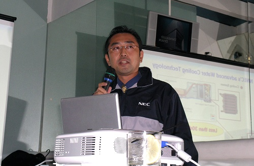 NEC Computers Asia Pacific's Director of Marketing, Mr. Toshiki Sumita giving us a low down on the benefits and development behind their advanced Water-Cooling Technology.