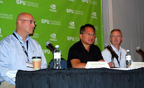Jen-Hsun leads a media roundtable conversation like no other and in this session, he's flanked by Sanford Russel, GM for CUDA group and on the right is Andy Keane, GM of Tesla Business Division and GPU Computing.