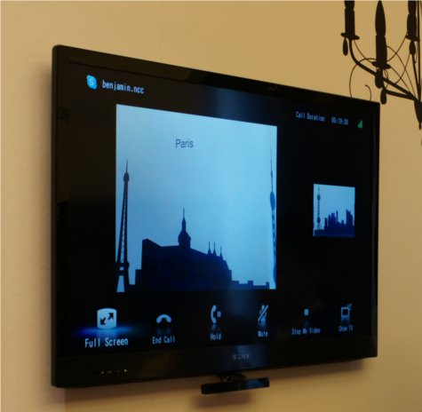 Sony was demoing the Skype capabilities of their new BRAVIA TVs.