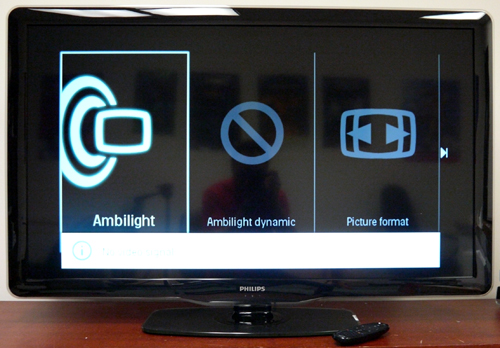 Looks like a regular HDTV, doesn't it? While the bezel remains terribly glossy, it's nice to know Philips has taken pains to reduce the screen's reflective surface. The Ambilight Dynamic feature kicks in when there is an active display source.