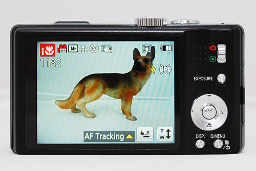 The TZ20 features touch controls, like touch to focus and shoot. Just tap the icon with the shutter release button (currently with an 'X' labeled) and activate the function.